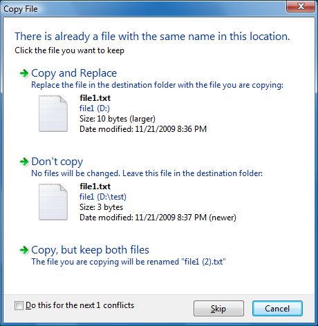 Copy in Vista